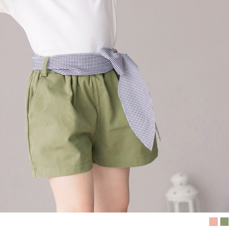 親子系列~高含棉寬口鬆緊跳色綁帶短褲