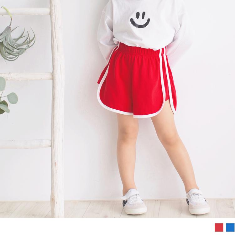 腰鬆緊側邊雙條拼接造型棉短褲