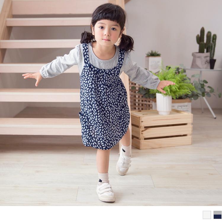 親子款~高棉假兩件滿版印花長上衣/洋裝