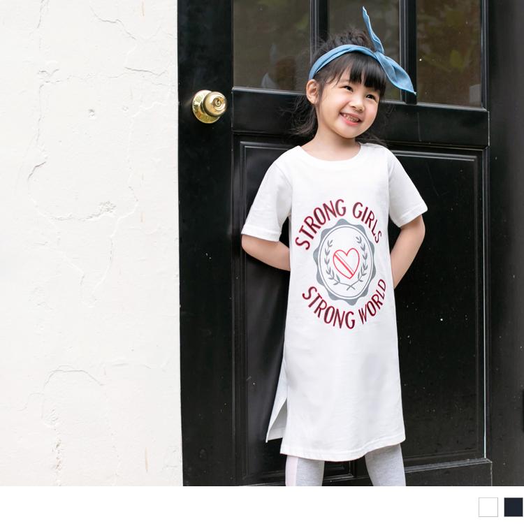 親子系列~高含棉愛心字母印圖側開衩洋裝