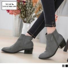 絨面拼接仿皮革低跟短靴