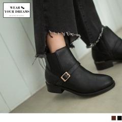 皮帶釦環造型仿皮革短靴