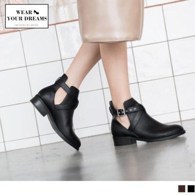 皮帶釦環設計鏤空仿皮革短靴