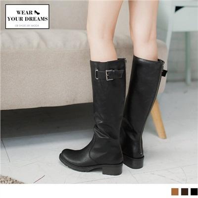 皮帶釦環造型仿皮革長靴