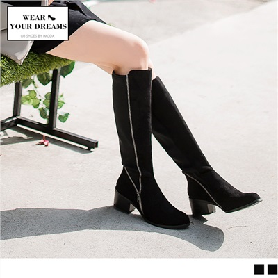 人造皮革拼接彈力大筒圍長靴