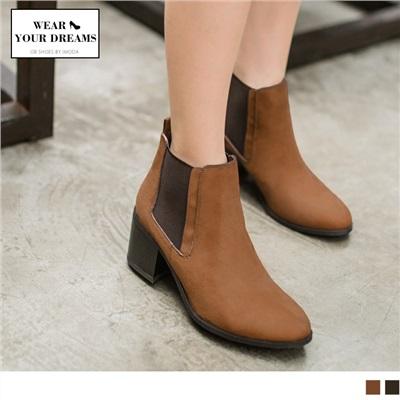 仿麂皮異材質彈力拼接短靴