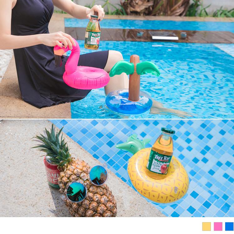 夏日風情~鳳梨椰子樹紅鶴泳圈杯架
