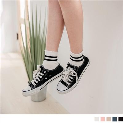 0810新品【特價款】韓國配色條紋木耳邊短筒襪.5色(任3雙198)