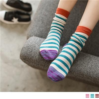 1012新品【特價款】撞色細橫條紋襪