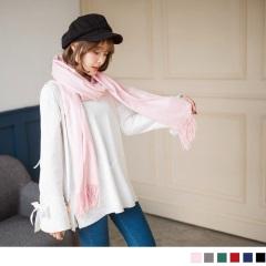 素色仿羊絨流蘇圍巾