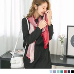 直感素面條紋流蘇圍巾