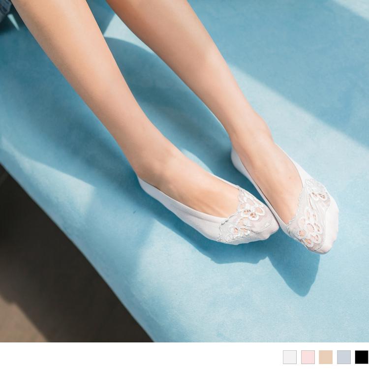 棉质半蕾丝小花底隐形袜