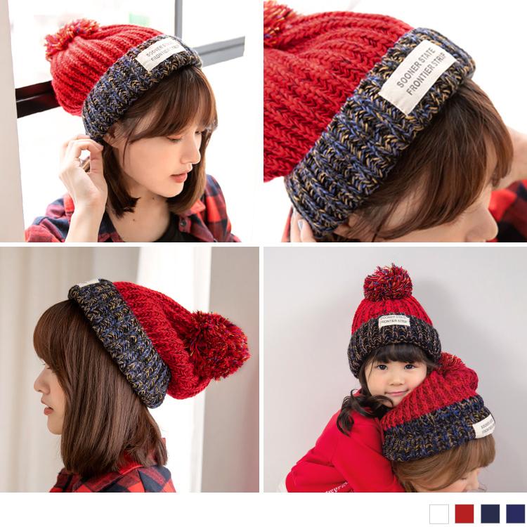 親子系列.英文布標大毛球球針織毛線帽