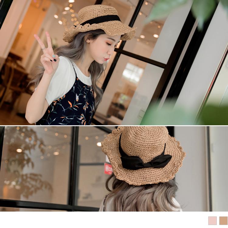 可調鐵絲帽沿蝴蝶結綴飾藤編草帽