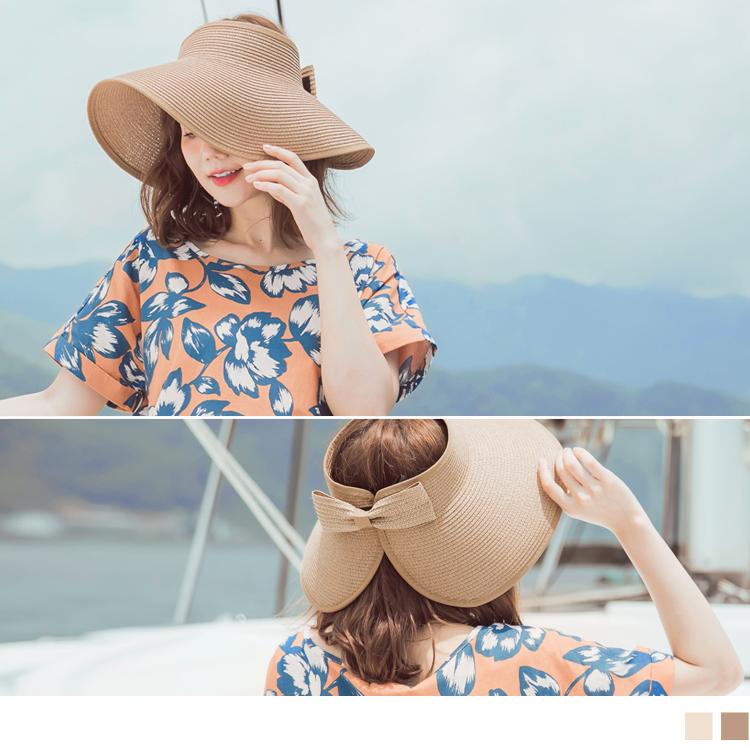 可收納式蝴蝶結草編遮陽帽