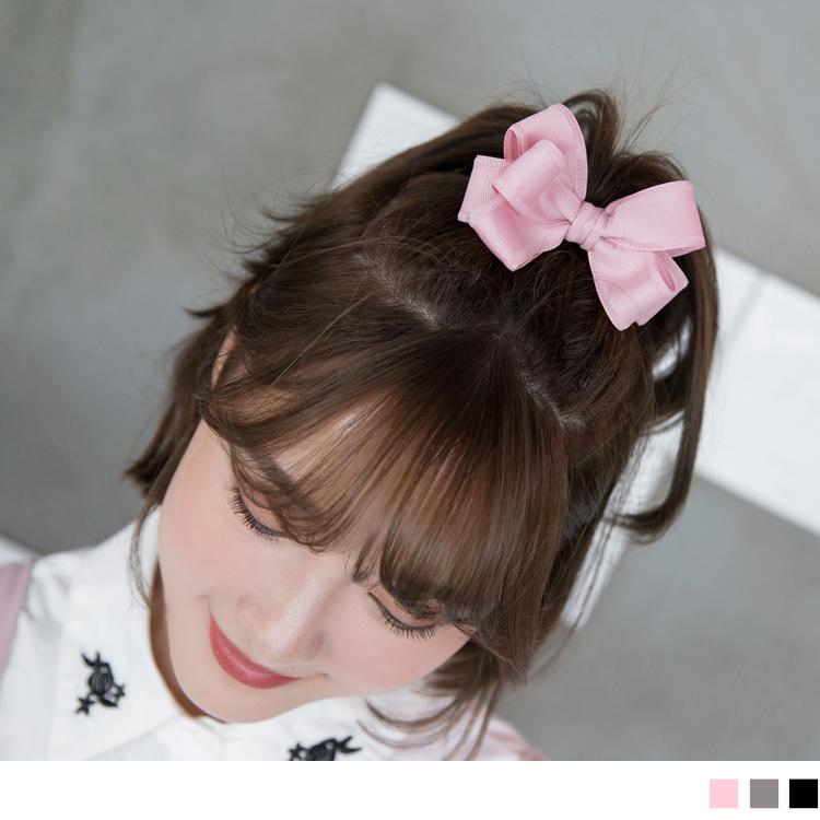 素色蝴蝶结珍珠坠造型发圈