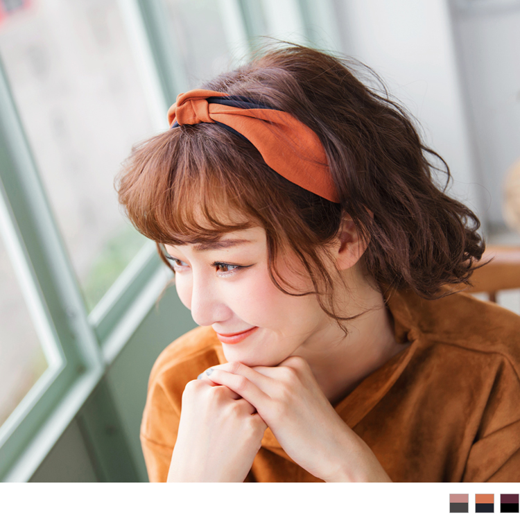 撞色交织设计宽版发带