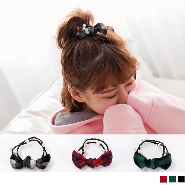 珍珠蝴蝶结珍珠造型双发圈