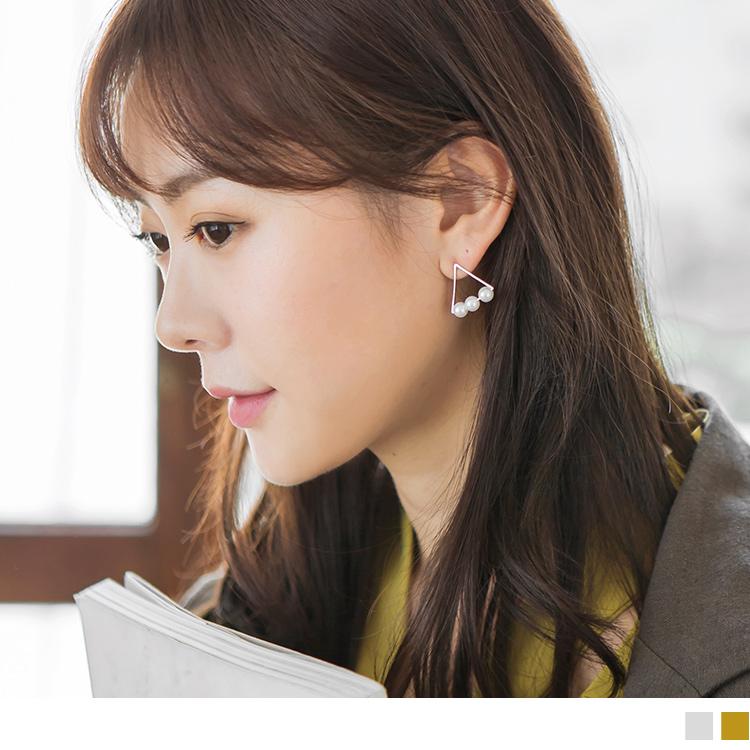 镂空三角型珍珠耳环