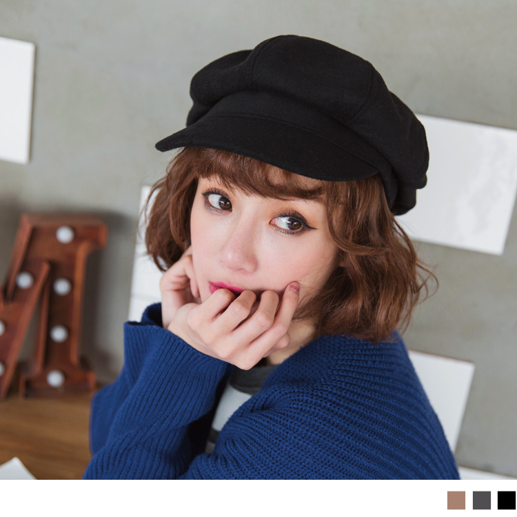 素色简约仿羊毛报童帽