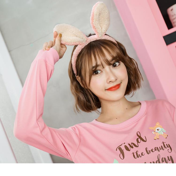 粉色兔耳朵毛绒感造型头箍