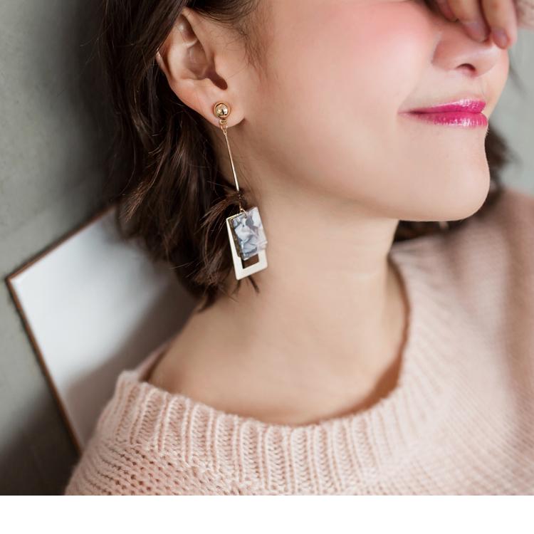 大理石花纹方型框造型耳环
