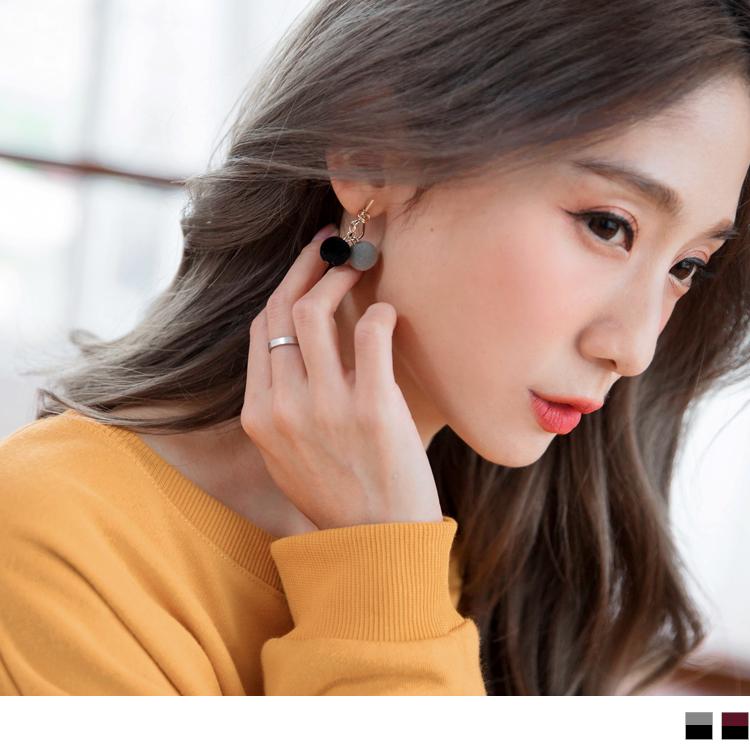 樱桃拼色造型毛球耳环