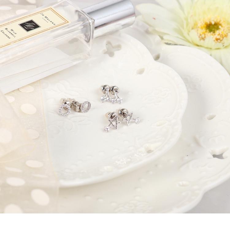 樱桃星星圆圈水钻三件套耳环