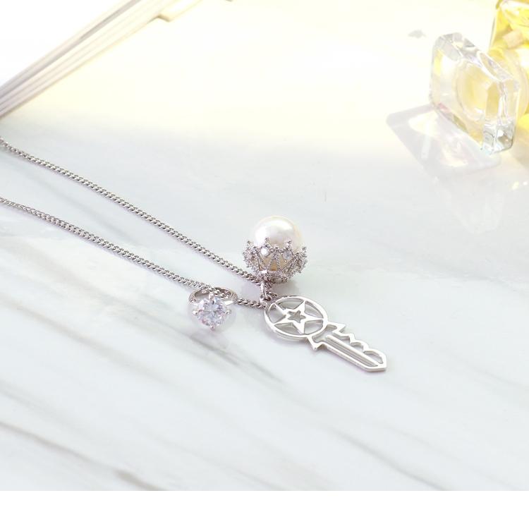 大珍珠钥匙戒指水钻造型项鍊