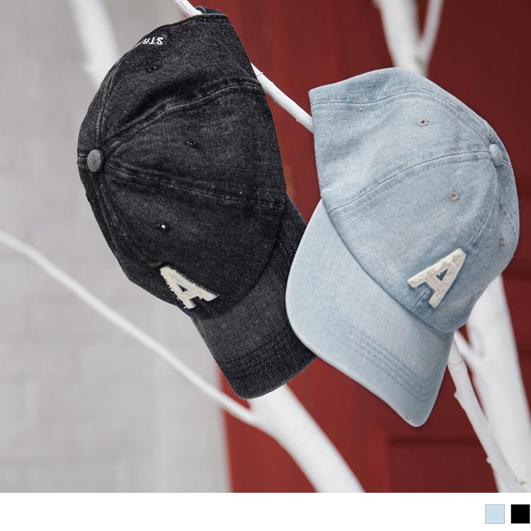 高含棉刺绣A英文字牛仔刷色鸭舌帽