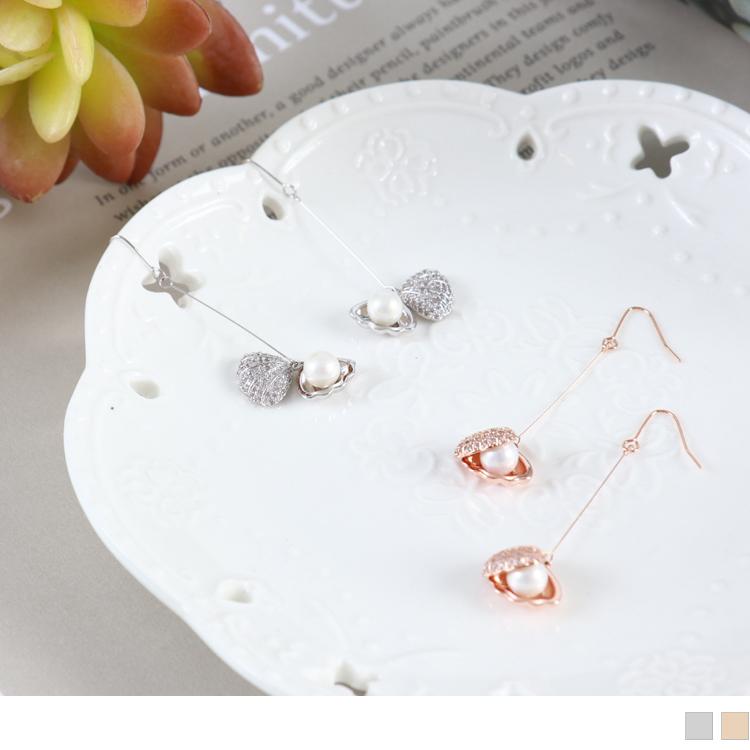 质感贝壳珍珠耳环