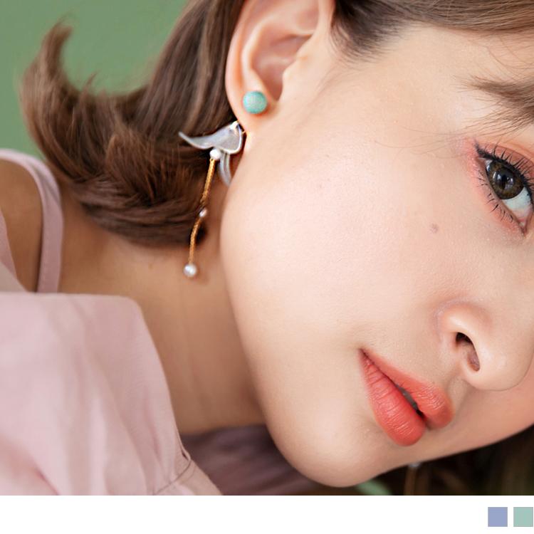 花片珍珠圆球耳环