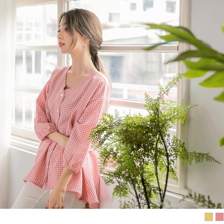 V領格紋澎袖寬鬆排釦襯衫