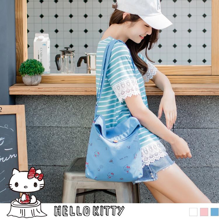 野餐系列~满版KITTY印图斜背/肩背帆布包