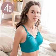 貝兒薇-透氣Y背 專利薄襯內衣4件組 (大罩杯/孕期S-XXL)