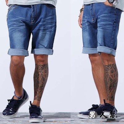 男人幫-K0384美式休閒風格高磅厚面潮流原色水洗彈性牛仔褲短褲(大碼)