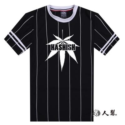 男人幫-HASHISH之葉 袖口拼接直條紋短袖T恤 (T1334)