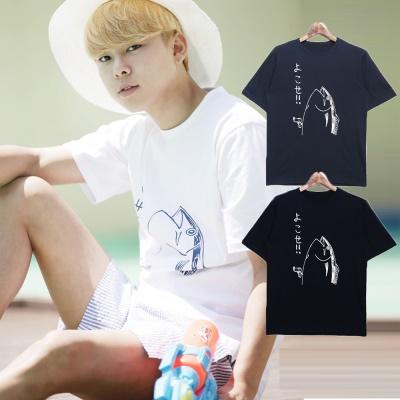 男人幫-潮流日式風格純棉日文點綴魚設計圖鴨T恤(T1350)