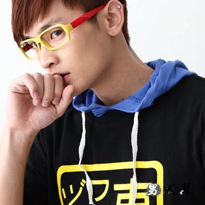 男人幫- 雜誌人氣 學院雙色/玩色膠框平框眼鏡 (Z0192)