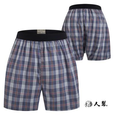 男人幫-舒適四角褲灰紅線條格紋 (Z0329)