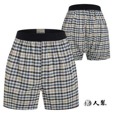 男人幫-舒適四角褲咖啡黃小格紋 (Z0330)