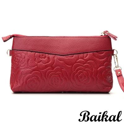 BAIKAL-典雅氣質玫瑰拉鍊牛皮包