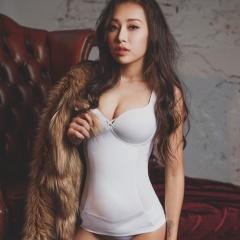【2件9折】薄蕾絲-Hi Cool 小姿女孩-寬肩帶無鋼圈塑身衣(白)