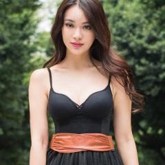 【限時69折♥】薄蕾絲-2016小姿女孩 - 細肩帶無鋼圈塑身衣 (黑)