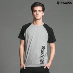 K-Swiss Raglan Sleeve Tee短袖T恤-男-灰/黑