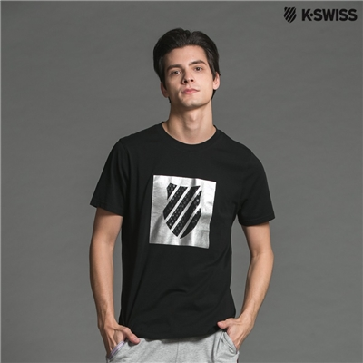 K-Swiss A/O PTT W/rf Logo印花短袖T恤-男-黑