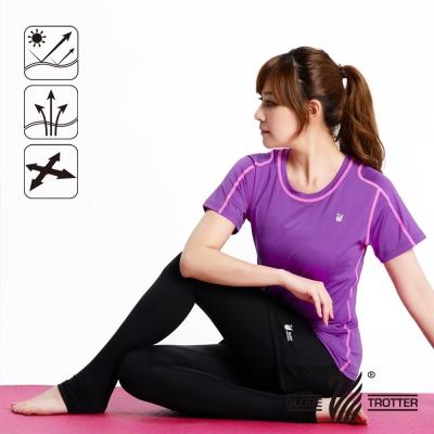 【開館慶9折】遊遍天下-MIT女款抗UV吸濕排汗彈力圓領衫-紫