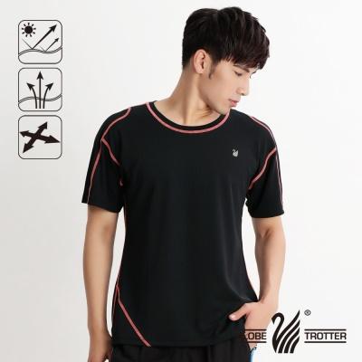 【開館慶9折】遊遍天下- MIT男款抗UV吸濕排汗彈力圓領衫-黑