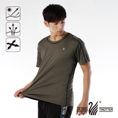 【開館慶9折】遊遍天下- MIT男款抗UV吸濕排汗彈力圓領衫-咖啡