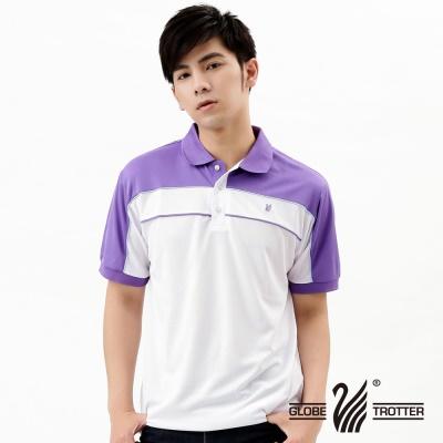 【開館慶9折】遊遍天下-MIT台灣製男款抗UV吸濕排汗機能POLO衫-白/紫